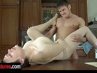 Lusty milf in sheer-to-waist pantyhose chooses a kitchenette for fucking games