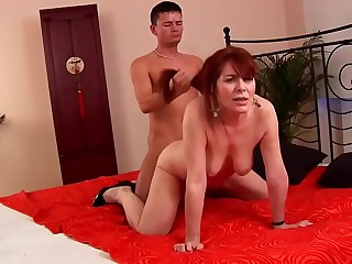 Grown up hairy redhead 50plus fucked by younger guy