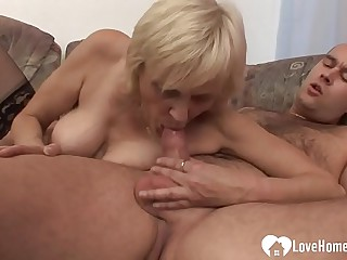 Luscious blonde granny takes his raging boo-boo