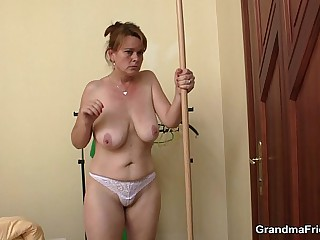 Boozed old mature takes two cocks on request on call