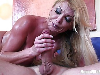Blonde housewife Taylor Wane with gigantic boobs in sexy underthings seduces the st