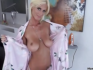 Blonde skinny mom blows son!