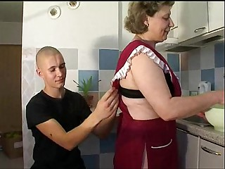 Mature Old woman with young boy