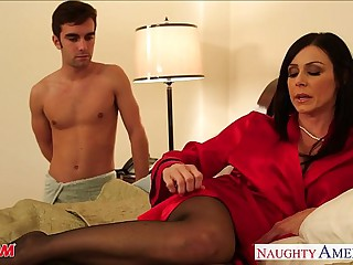 Stockinged mom Kendra Lust close by cock