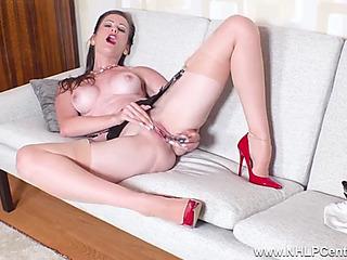 Dark Brown maw i'd like to fuck undresses off masturbates in stockings garters heels